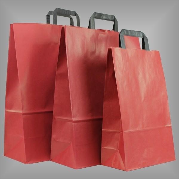 250 Papiertüten rot, flache Griffe, versch. Größen