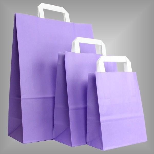 250 Papiertüten lila, flache Griffe, versch Größen