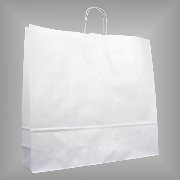 125 Papiertüten weiß 54x14x50cm, gedrehte Henkel