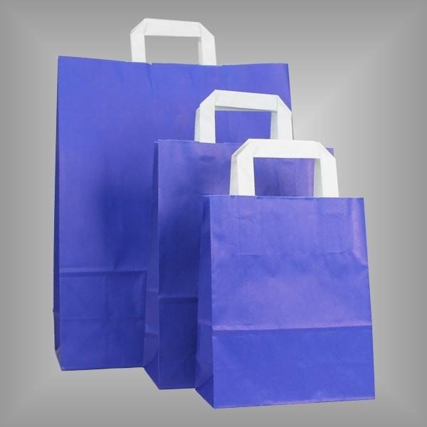250 Papiertüten royalblau, flache Griffe, versch Größen