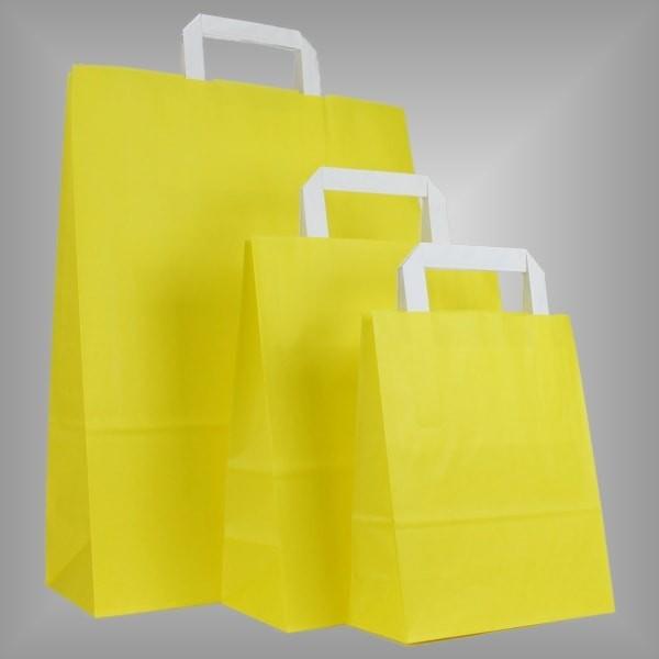 250 Papiertüten gelb, flache Griffe, versch Größen