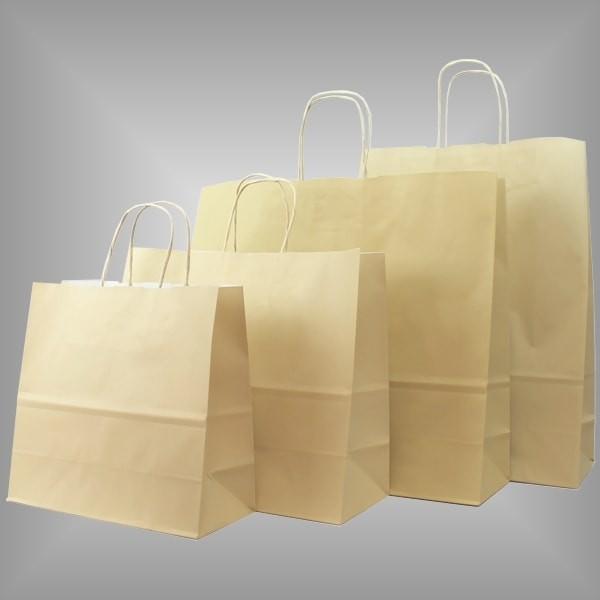 Papiertragetaschen sand, versch. Größen
