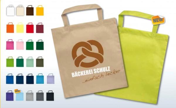 Textiltragetaschen 38x42cm kurze Henkel, 2-farbig bedruckt