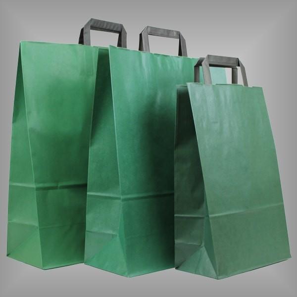 250 Papiertüten grün, flache Griffe, versch. Größen