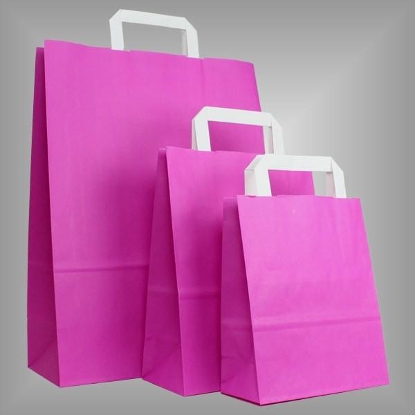 250 Papiertüten pink, flache Griffe, versch Größen
