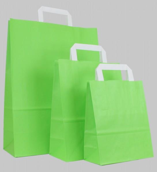 250 Papiertüten hellgrün, flache Griffe, versch Größen