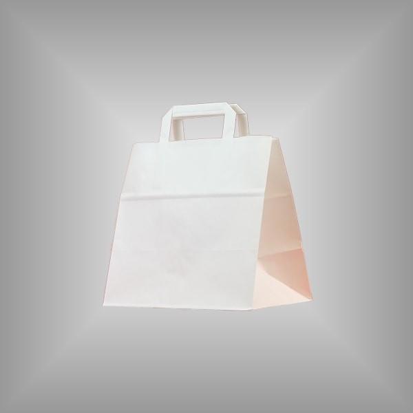 250 Papiertüten weiß 26x17x25cm, flache Henkel
