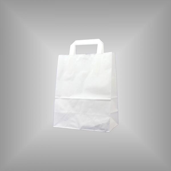 250 Papiertüten weiß 22x10x28cm, flache Henkel