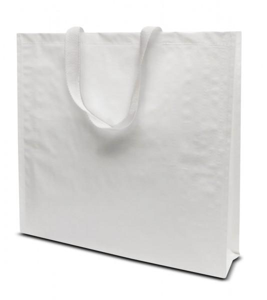 Woventragetaschen 42x38+10cm weiß, 1-farbig bedruckt
