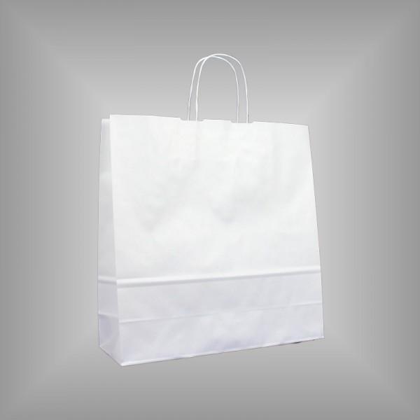 250 Papiertüten weiß 36x12x37cm, gedrehte Henkel
