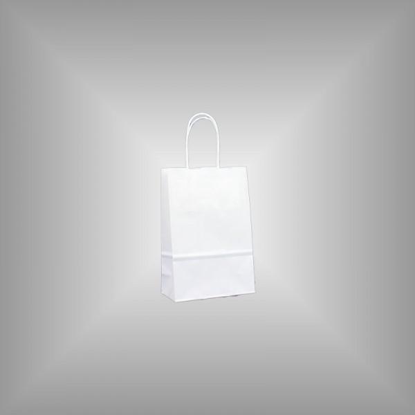 300 Papiertüten weiß 14x7x21cm, gedrehte Henkel